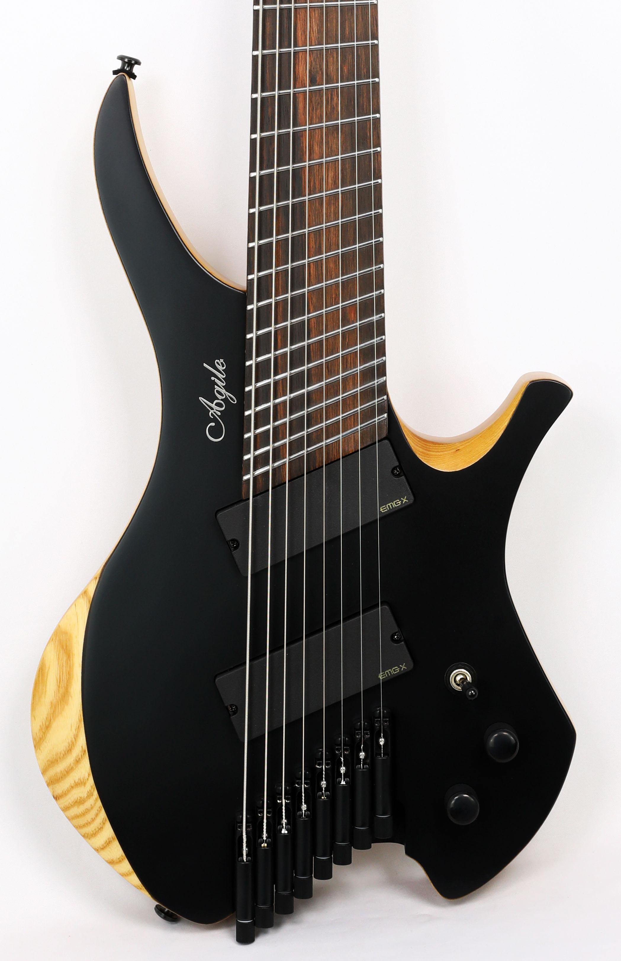 Agile Chiral Nirvana 82528 EB MOD SS Flat Black Headless Guitar