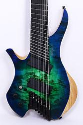 Agile Chiral Nirvana 82528 EB MOD SS Satin Green Blue Burst Left Handed Headless Guitar