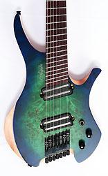Agile Chiral Parallax 72527 Satin Green / Blue Headless Guitar Advanced Order 12/17