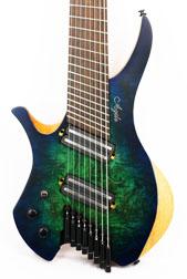 Agile Chiral Parallax 82528 Satin Green / Blue Left Handed Headless Guitar