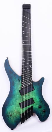Agile Geodesic Pro 82528 EB MOD SS Green/Blue Burst Headless Fan Fret Guitar