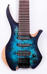 Agile Chiral 828 HSS Satin Blue Purple Headless Guitar