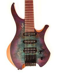 Agile Chirality 727 HSS Satin Blue Purple Headless Guitar