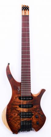 Agile Chiral 727 HSS Satin Burl Brown Headless Guitar
