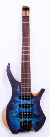 Agile Chiral 727 HSS Satin Blue Purple Burst Headless Guitar