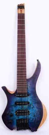 Agile Chiral 727 HSS Satin Blue Purple Headless Left Handed Guitar
