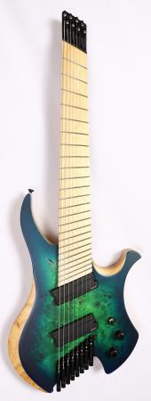 Agile Chiral Nirvana 82528 MN MOD SS Satin Green Blue Burst Headless Guitar