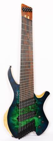 Agile Chiral Parallax 102528 EB CEP SS Satin Green / Blue Headless Guitar Advanced Order 12/20