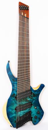 Agile Chiral Parallax 102528 EB CEP SS Satin Oceanburst Natural Burl Headless Guitar Advanced Order 12/20