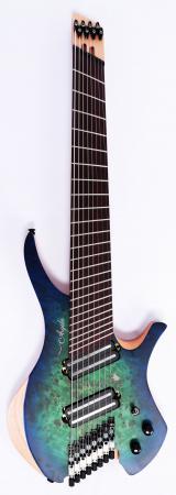Agile Chiral Parallax 82528 Satin Green / Blue Headless Guitar