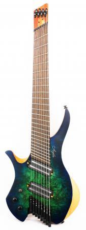 Agile Chiral Parallax 82528 Satin Green / Blue Left Handed Headless Guitar Advanced Order 9/17