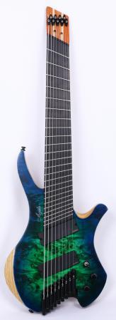 Agile Chiral Parallax 92528 EB EMG SS Satin Green / Blue Headless Guitar