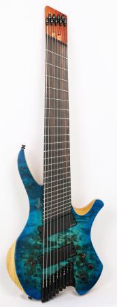 Agile Chiral Parallax 92528 EB EMG SS Satin Oceanburst Nat Burl Headless Guitar