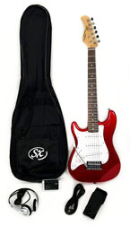 SX RST 1/2 CAR LH Short Scale Red Guitar Package Left Handed