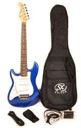 SX RST 1/2 EB Left Handed Half Size Blue Guitar Pack