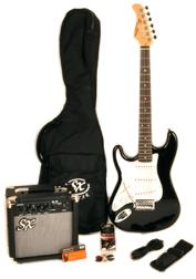 SX RST 3/4 BK Left Handed Short Scale Black Guitar Pack