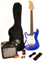 SX RST 3/4 EB Left Handed Short Scale Blue Guitar Pack