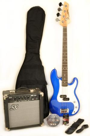 SX Ursa 1 JR RN PK EB Electric Blue 3/4 Bass Guitar Pack