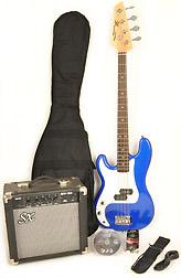 SX Ursa 1 JR RN PK EB Left Handed Electric Blue 3/4 Bass Guitar Pack