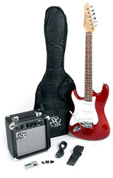 SX RST 3/4 CAR Left Handed Short Scale Red Guitar Pack