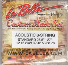 Labella Acoustic 8 String Set Steel String 25 to 27 Inch Scale