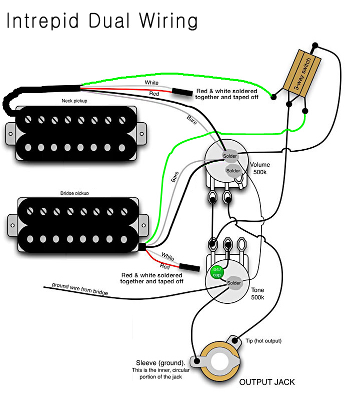 electric guitar wiring diagram two pickup guitar wiring diagram two humbuckers and bridge agile intrepid dual 930 rn tribal red w/case at rondomusic.com #5